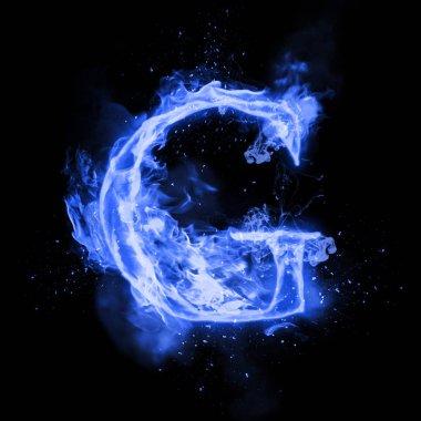 Fire letter G of burning flame light
