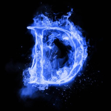 Fire letter D of burning flame light