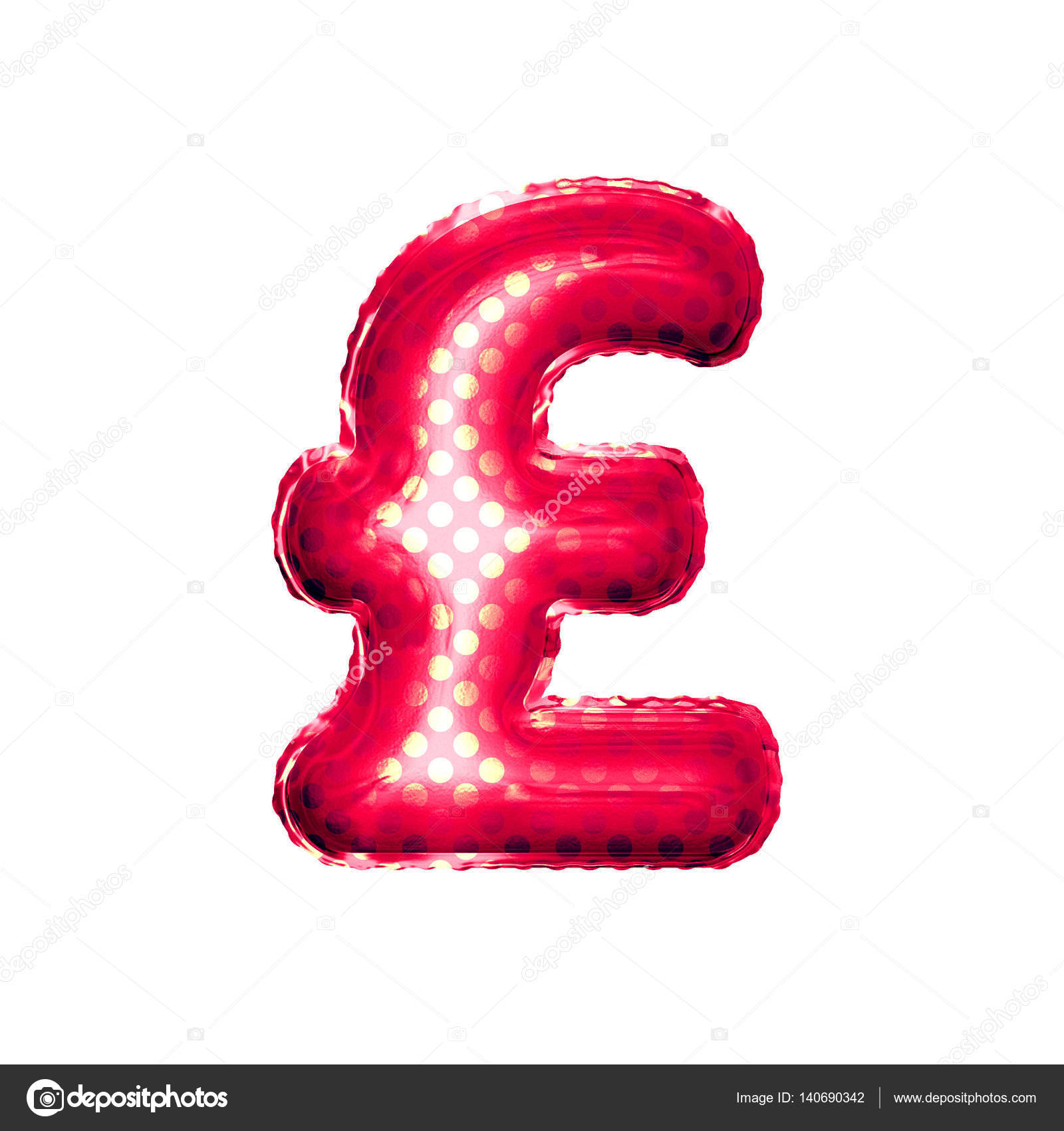 Balloon Pound Currency Symbol 3d Golden Foil Realistic Stock Photo