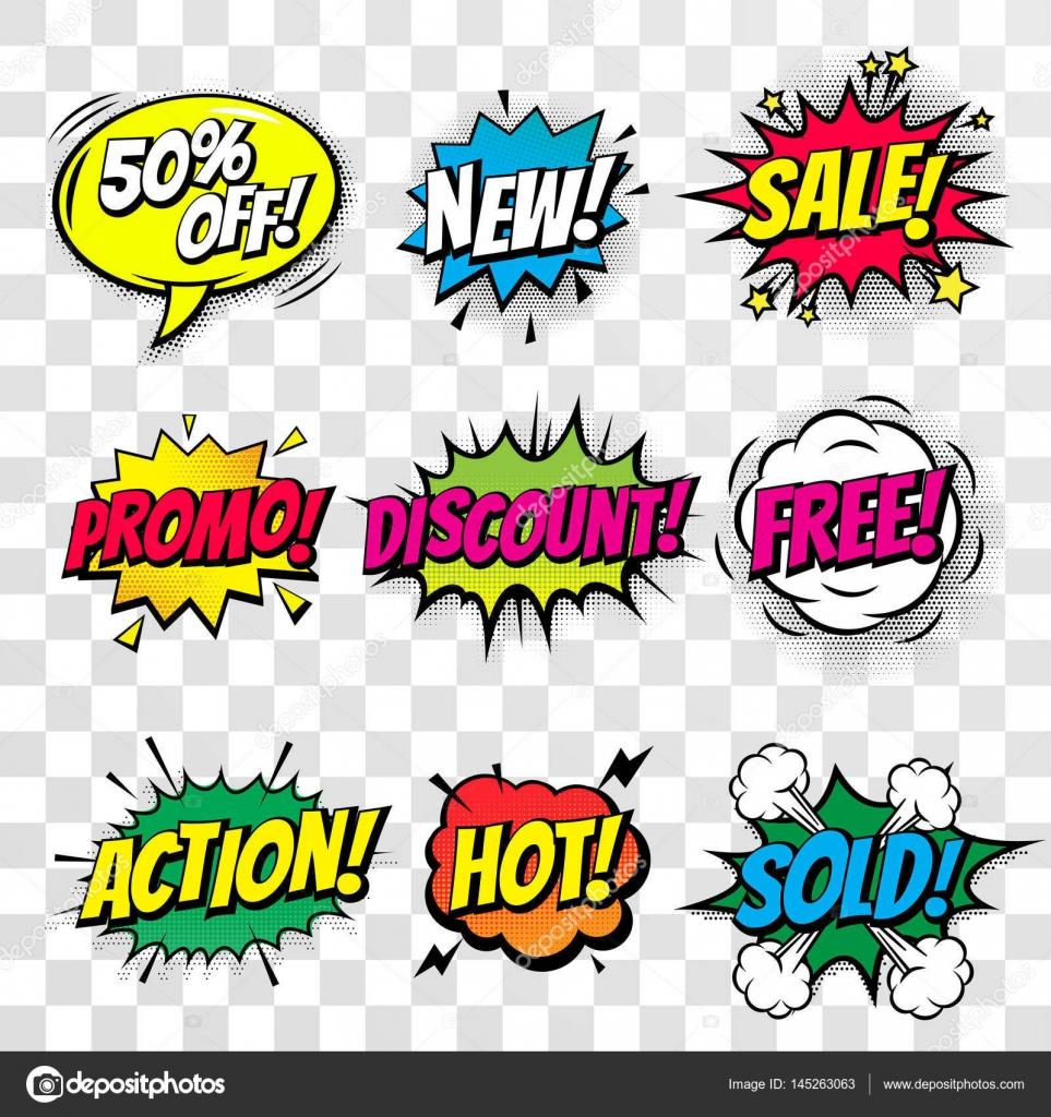 Icon: sale bubble vectors   Sale discount shopping comic