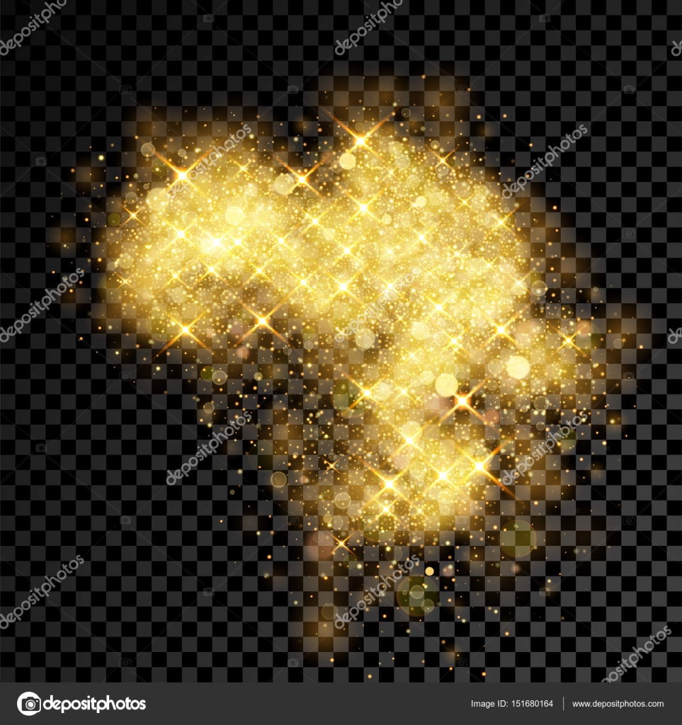 Gold glitter bright vector transparent background golden sparkles - Gold Glitter Cloud Burst Of Shining Sparkles On Vector Transparent Background Stock Vector 151680164