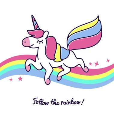 Unicorn flying across rainbow vector cute happy fairytale cartoon horse icon