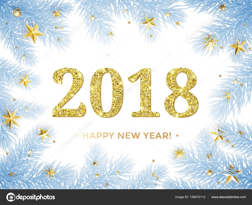 2018 Happy New Year vector background. Gold glitter texture with ...