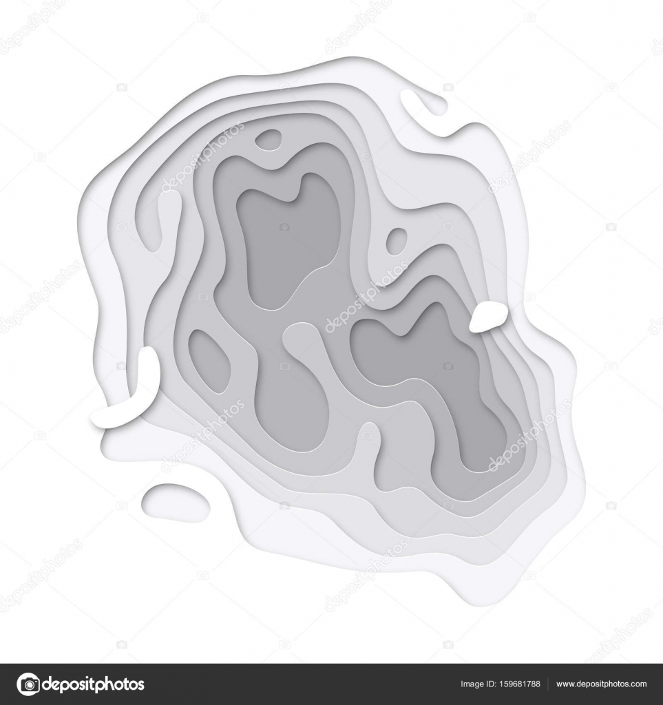 3D Papercut Layers With Gradient On White Vector Background Abstract Paper Cut Texture For Topography Website Template Or Smooth Origami Shape