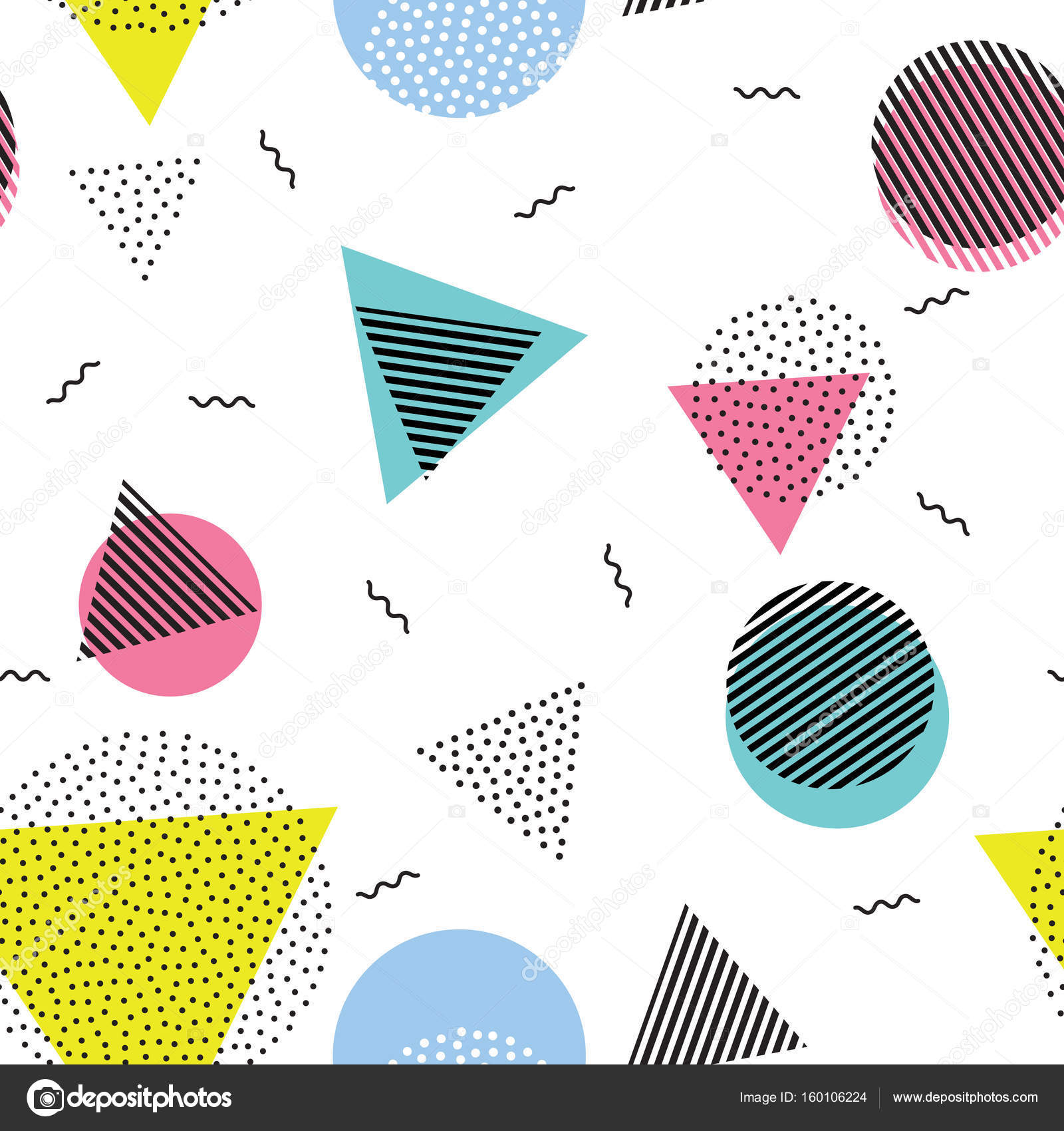 Triangle circle abstract geometric vector seamless pattern