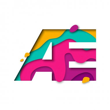Paper cut letter AE. Realistic 3D multi layers papercut logogram white background