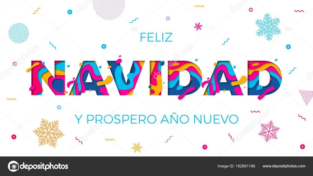 Feliz Navidad Merry Christmas spanish greeting card vector papercut ...