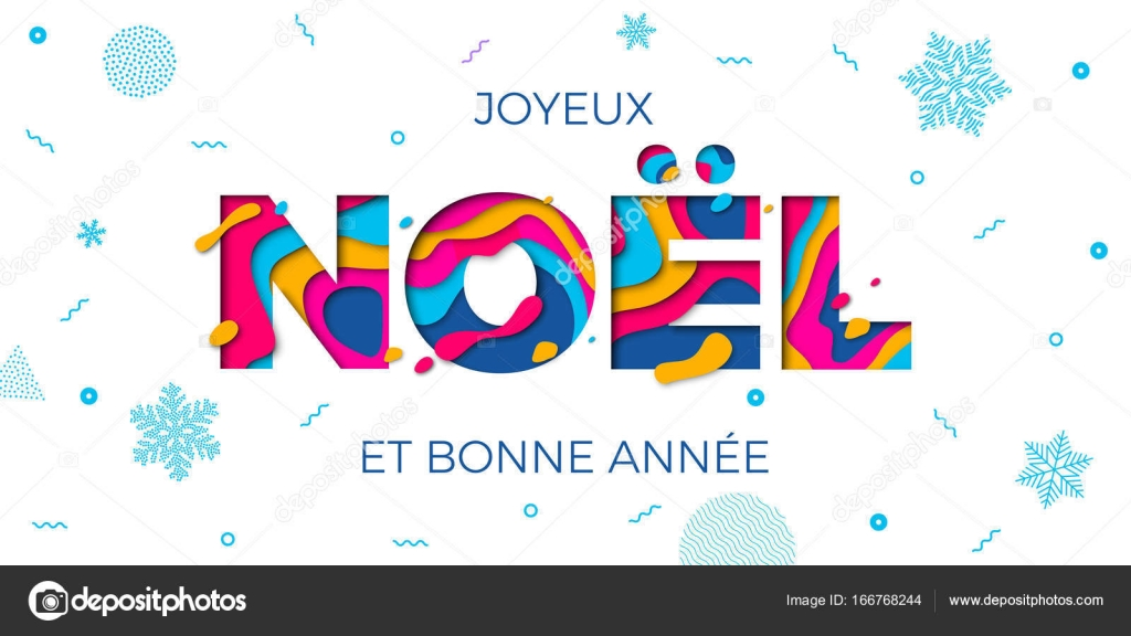 joyeux noel merry christmas french greeting card vector papercut multi color layers stock vector - Merry Christmas French