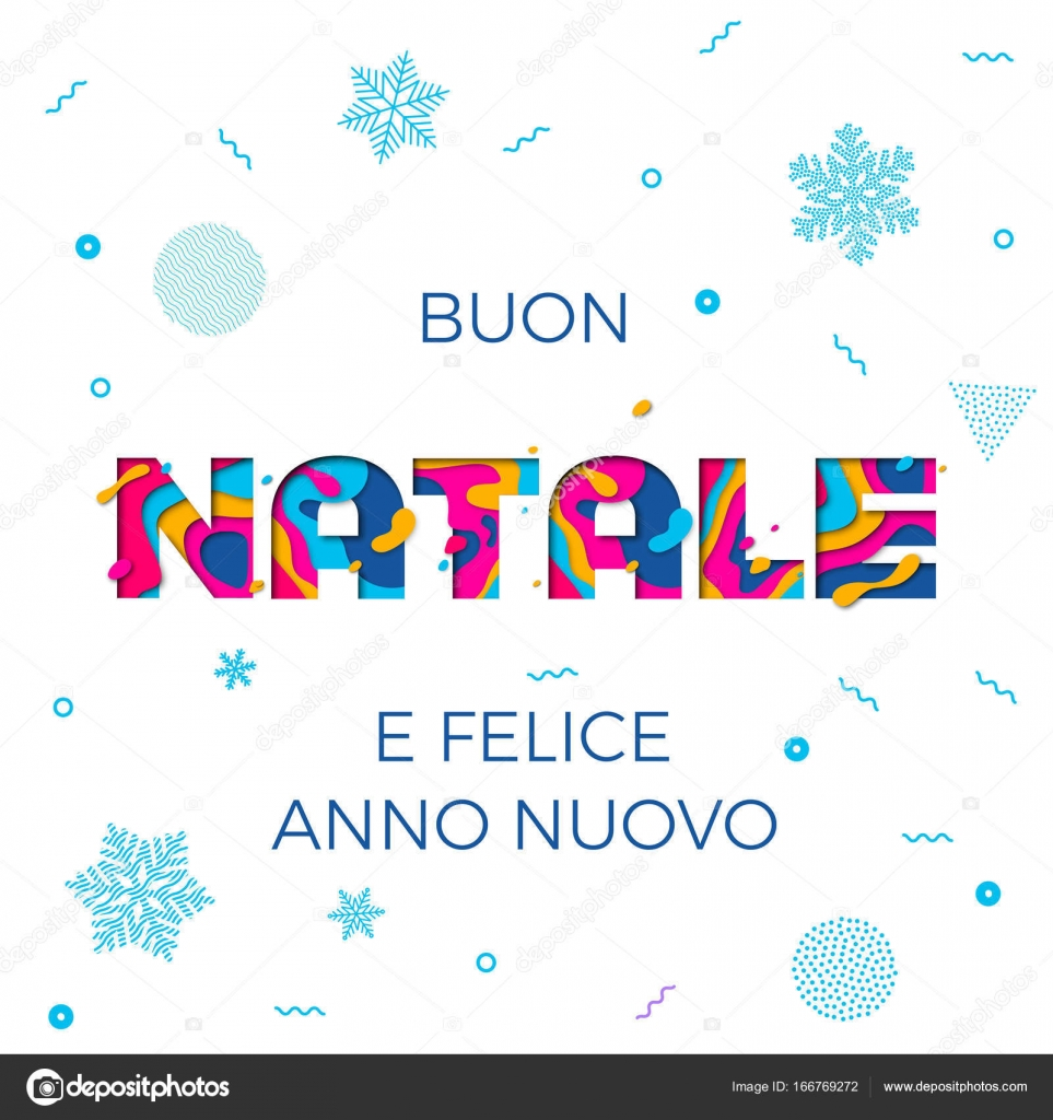 Buon Natale Merry Christmas Italian greeting card vector snowflake ...