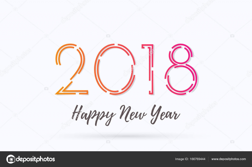 2018 happy new year greeting card background vector wish text design stock vector