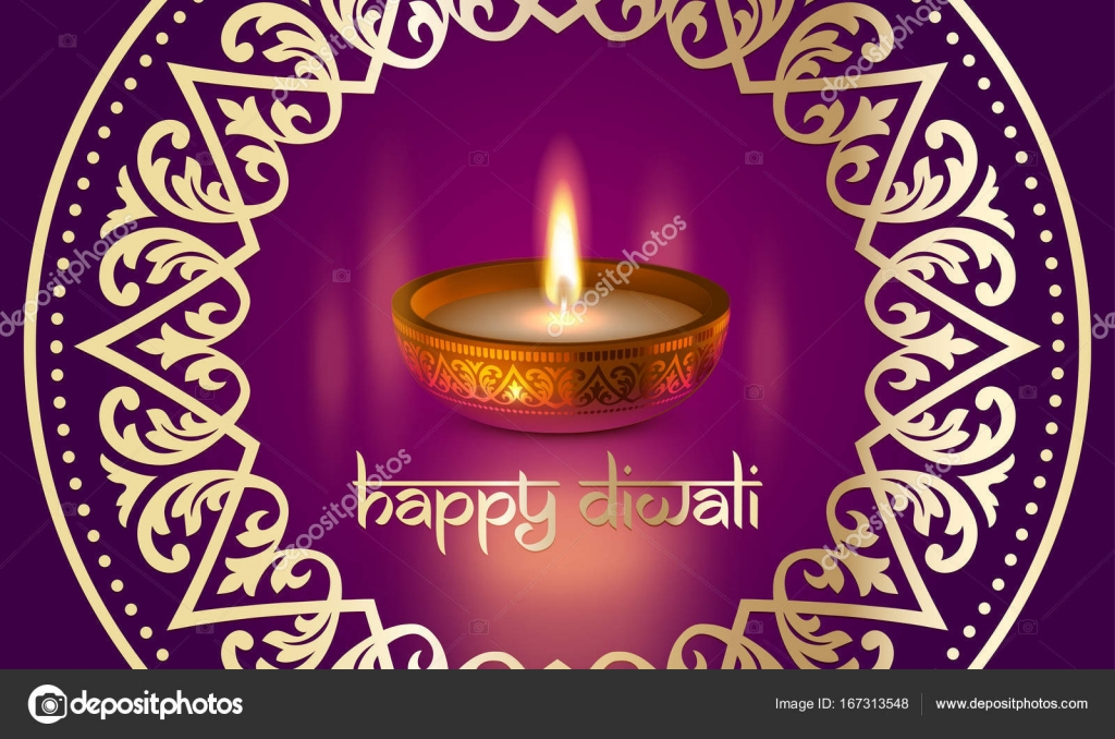 Happy diwali gold candle light indian festival greeting card vector happy diwali indian lights festival holiday traditional greeting card design of candle light flame lamp in golden bowl hindu ornament and diwali sanskrit m4hsunfo