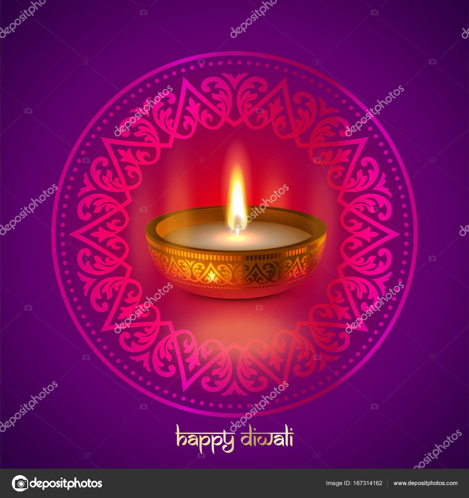 Happy diwali gold candle light indian festival greeting card vector happy diwali indian lights festival holiday traditional greeting card design vector diwali candle light flame lamp in golden bowl hindu ornament and m4hsunfo