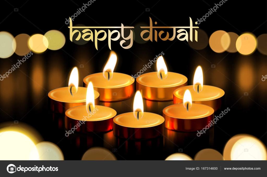 Cartel de texto de feliz Diwali vela oro luz tarjeta de saludo ...