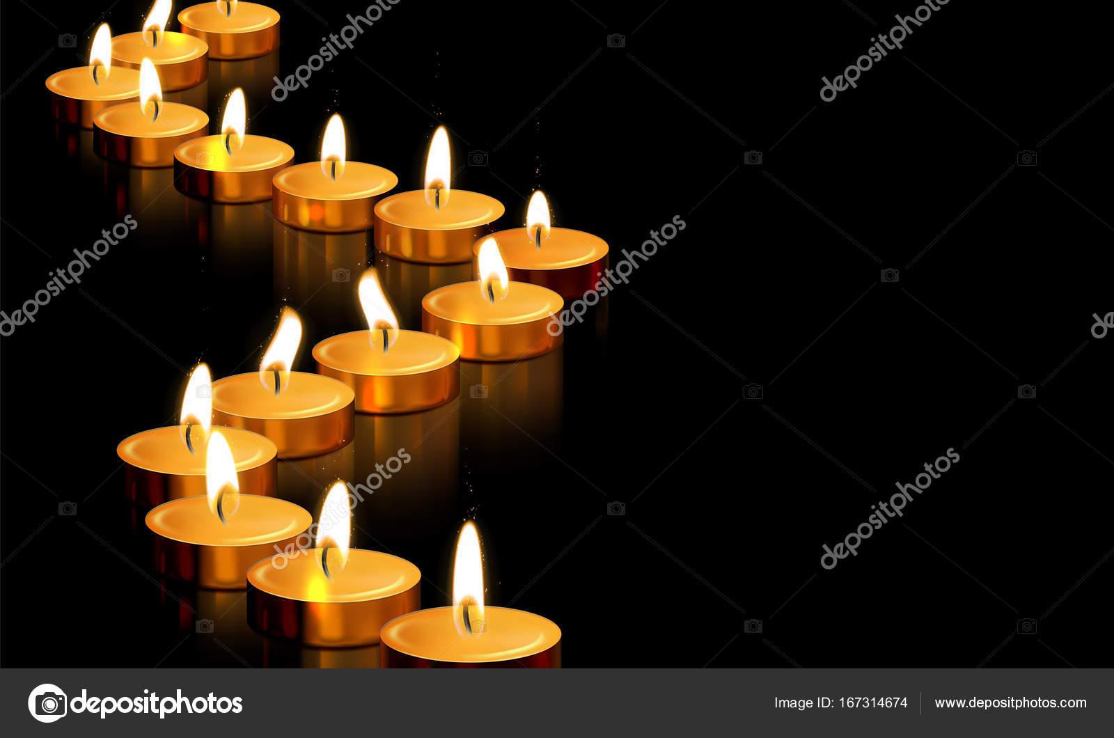 Candle gold tealight light vector golden memorial prayer 3D