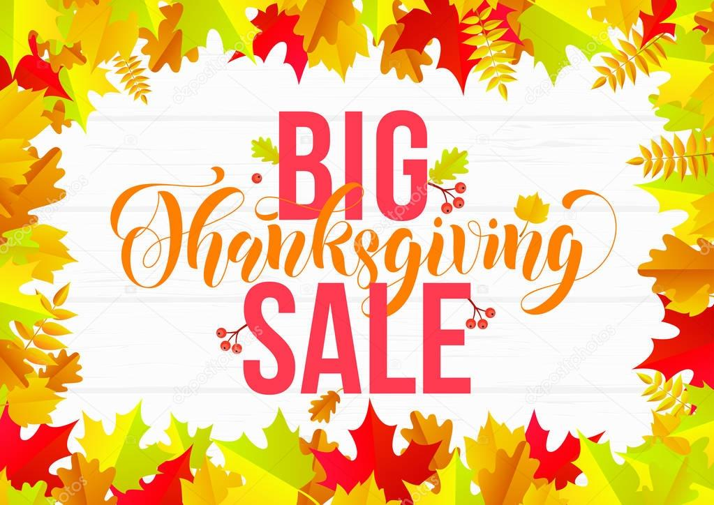 Thanksgiving Sale Web Banner Or Big Seasonal Promo Offer Discount Banner For Autumnal Shopping Background Template Vector Maple Oak Leaf Or Rowan Berry Falling For Thanksgiving Sale Design Premium Vector In