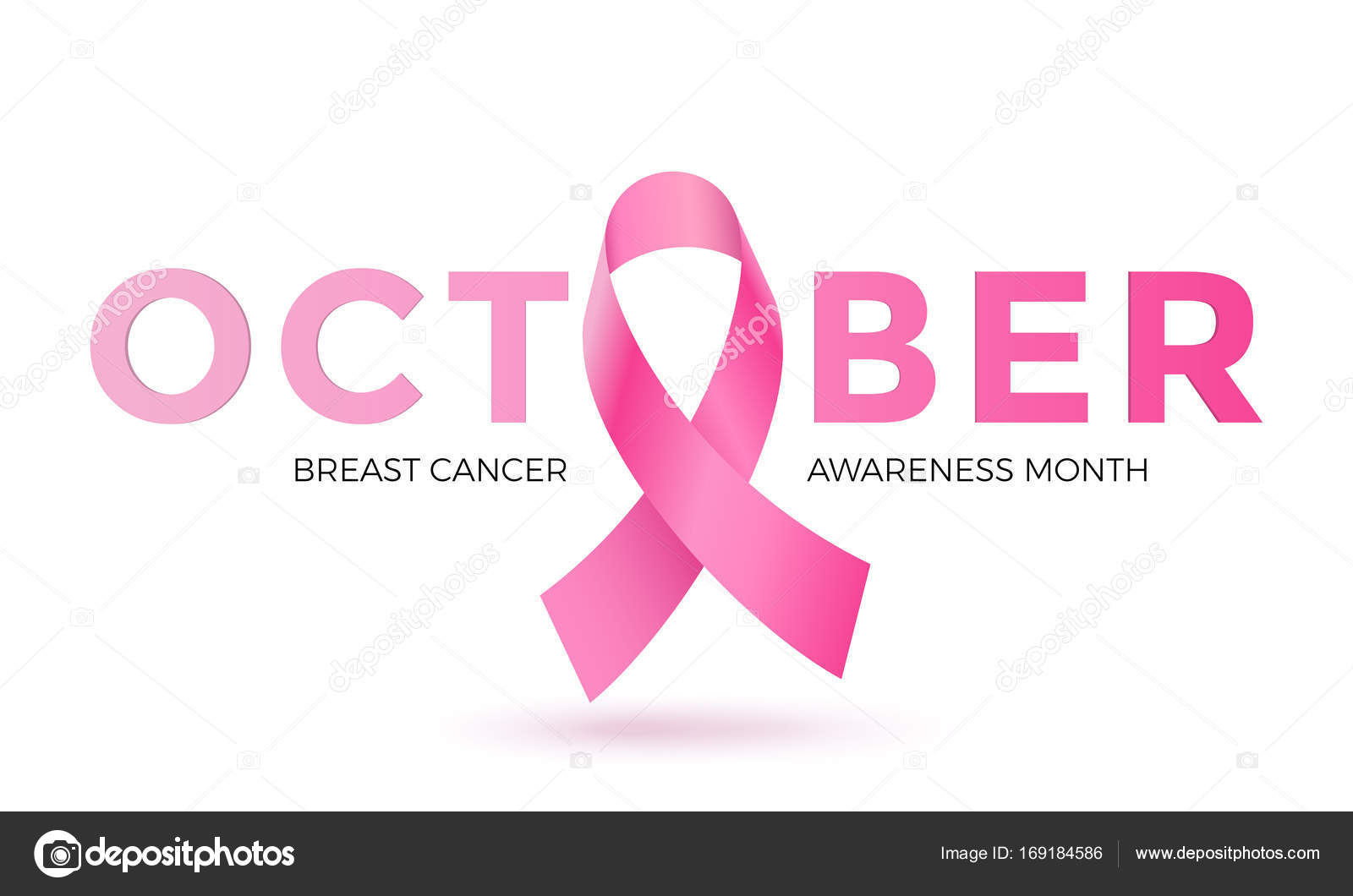 Breast Cancer Awareness Month Pink Ribbon Vector Women Solidarity Symbol Icon Stock