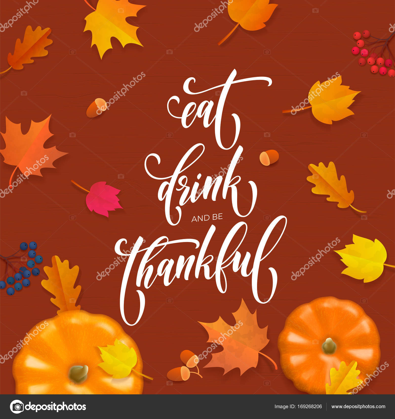 Happy Thanksgiving Holiday Autumn Fall Vector Pumpkin Calligraphy