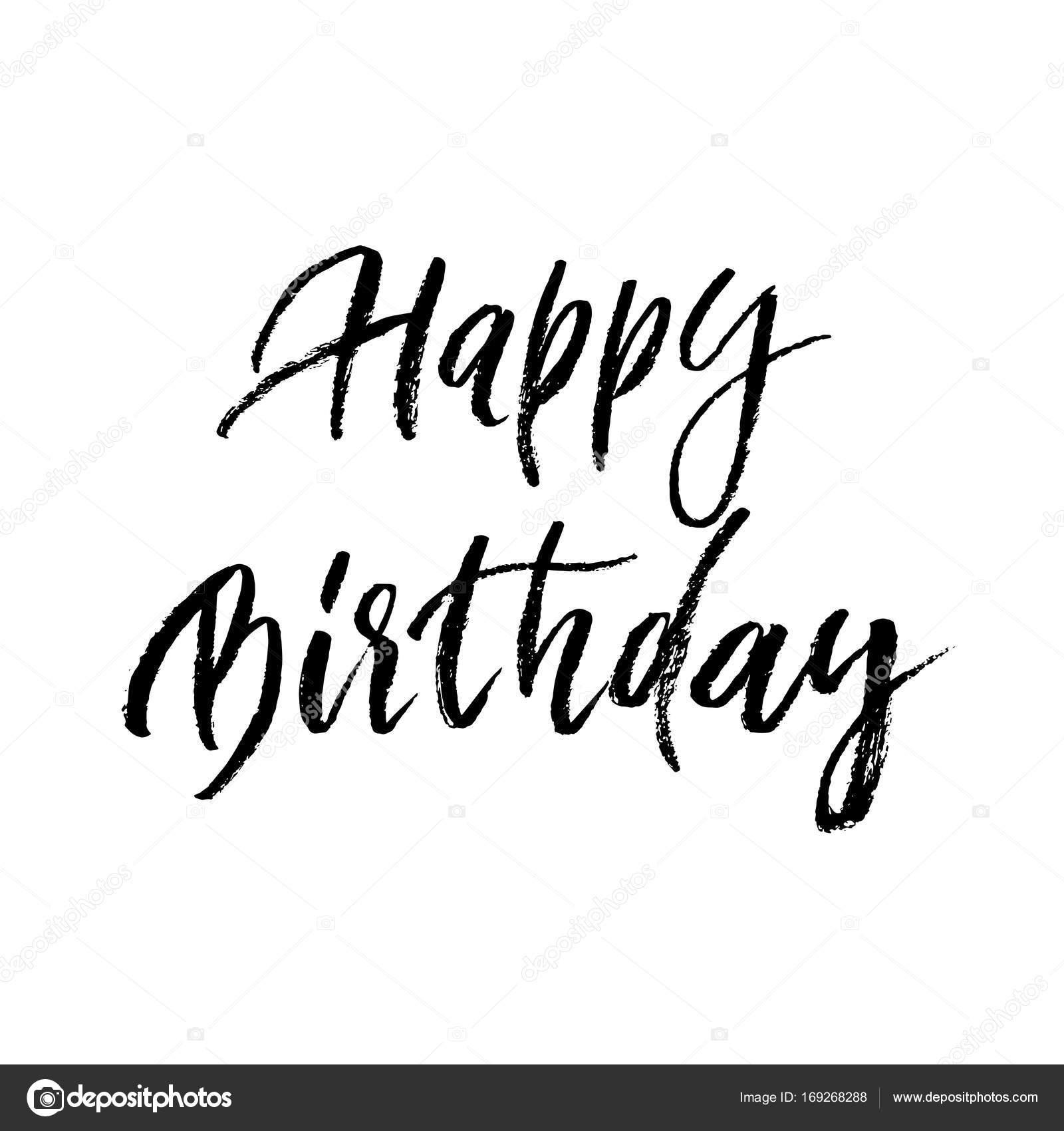 Happy birthday greeting card paint brush calligraphy hand drawn happy birthday greeting card paint brush calligraphy hand drawn vector font lettering stock vector kristyandbryce Choice Image