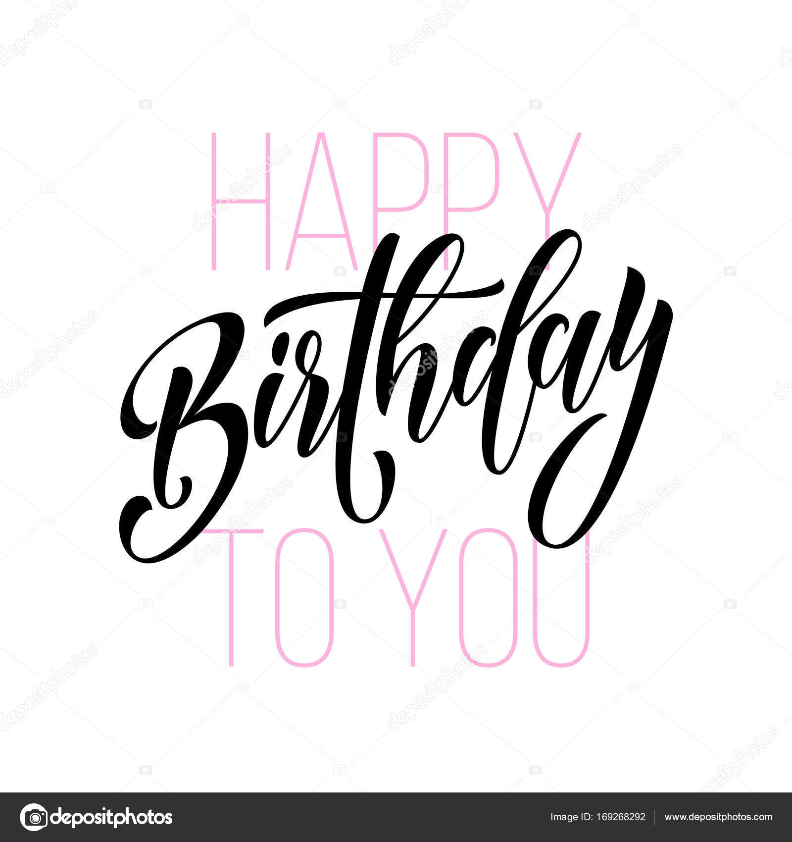 Happy Birthday Greeting Card Calligraphy Hand Drawn Vector Modern