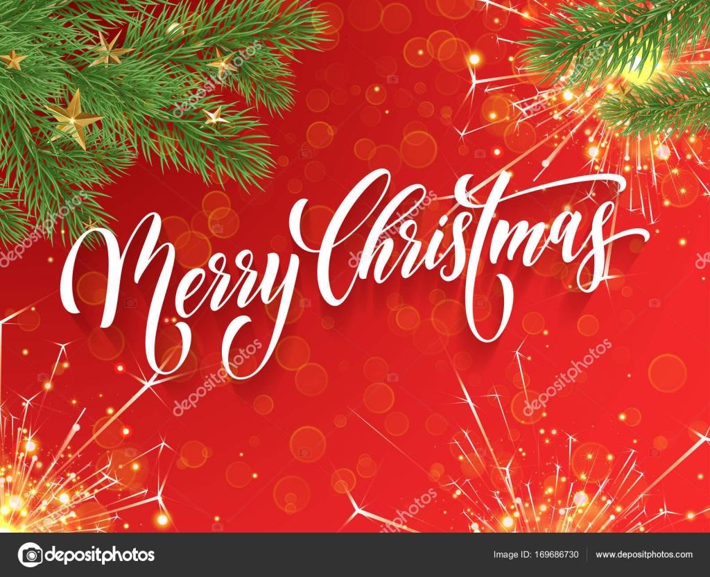 Merry Christmas Greeting Card Vector Golden Fireworks Glitter New