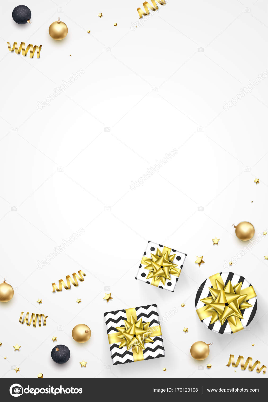 Christmas Greeting Card Golden Decoration Gifts Vector New Year