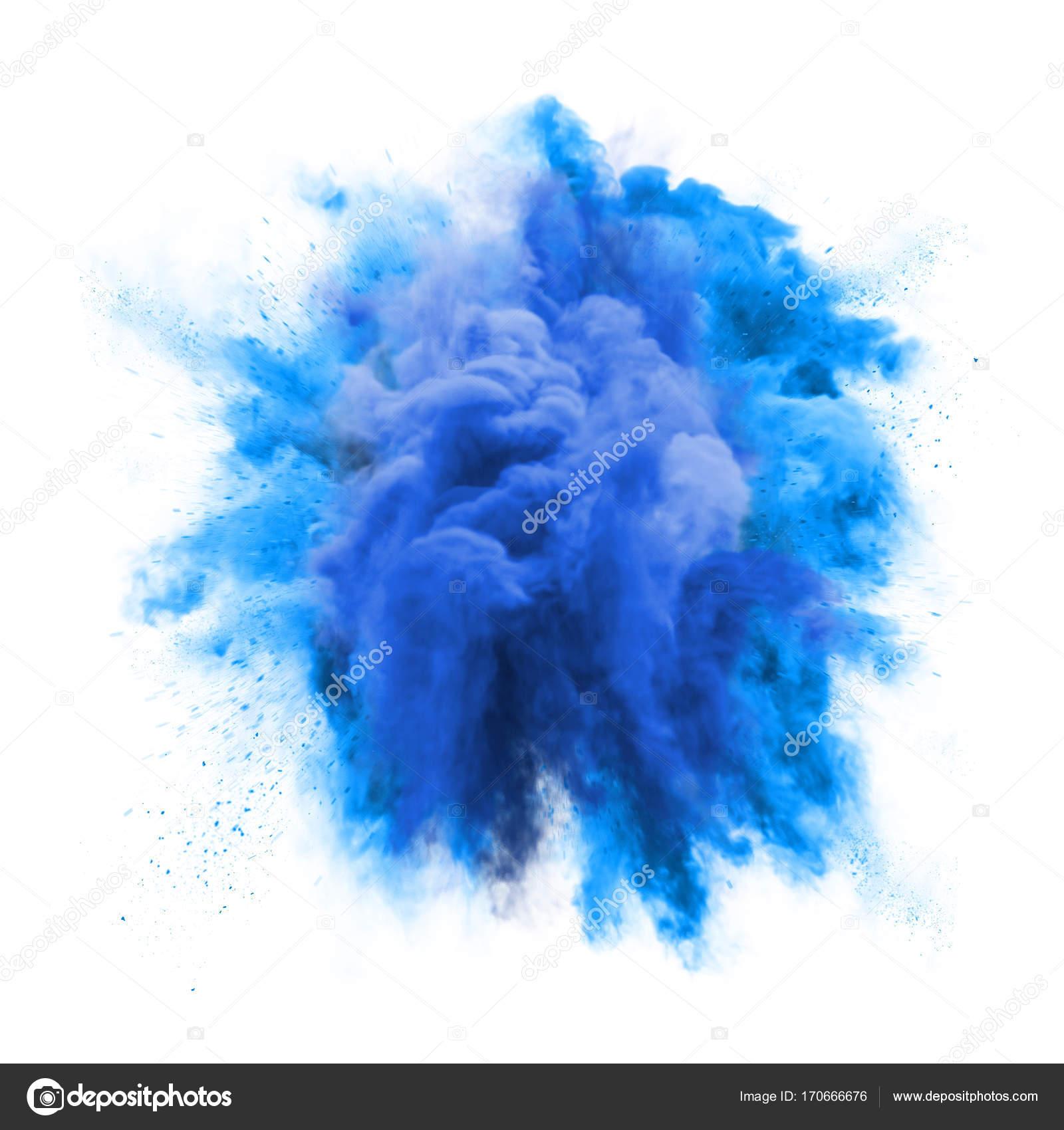 peinture bleu poudre d'explosion particules poussière nuage splash