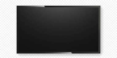 LCD TV screen isolated transparent background vector flat black television panel glass
