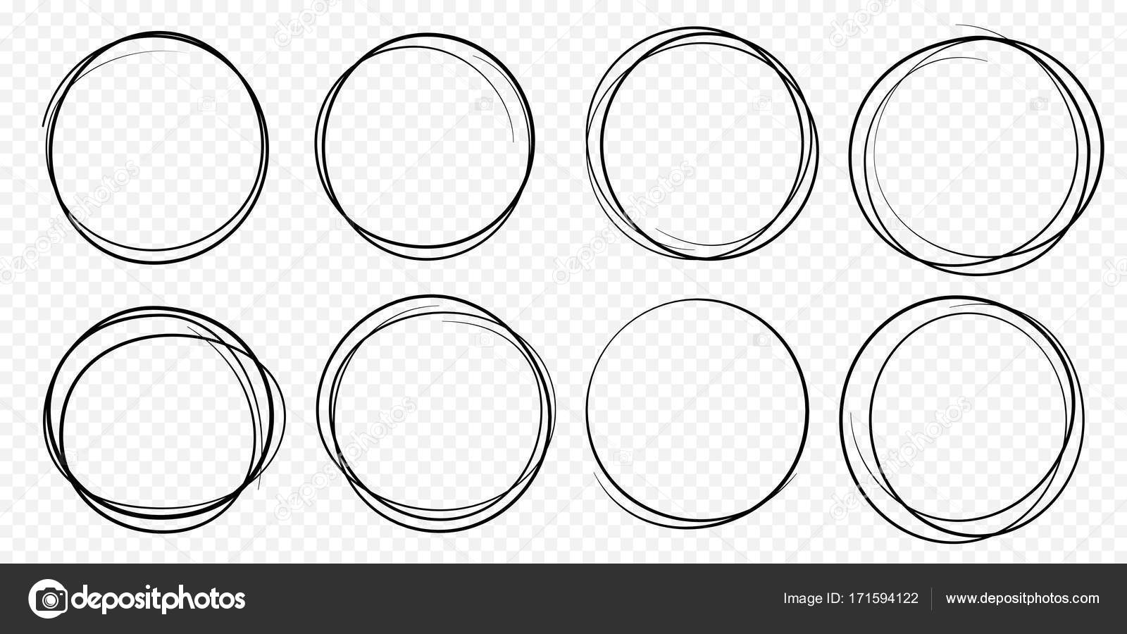 hand drawn circle line sketch set vector circular scribble