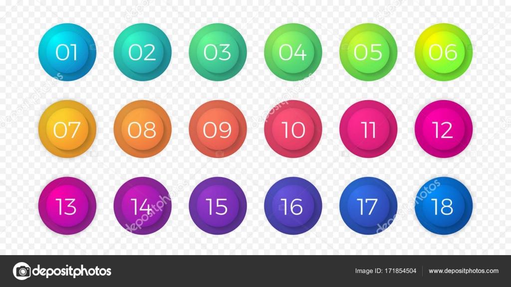 Numéro puce plat couleur isolés vecteur de dégradé web bouton