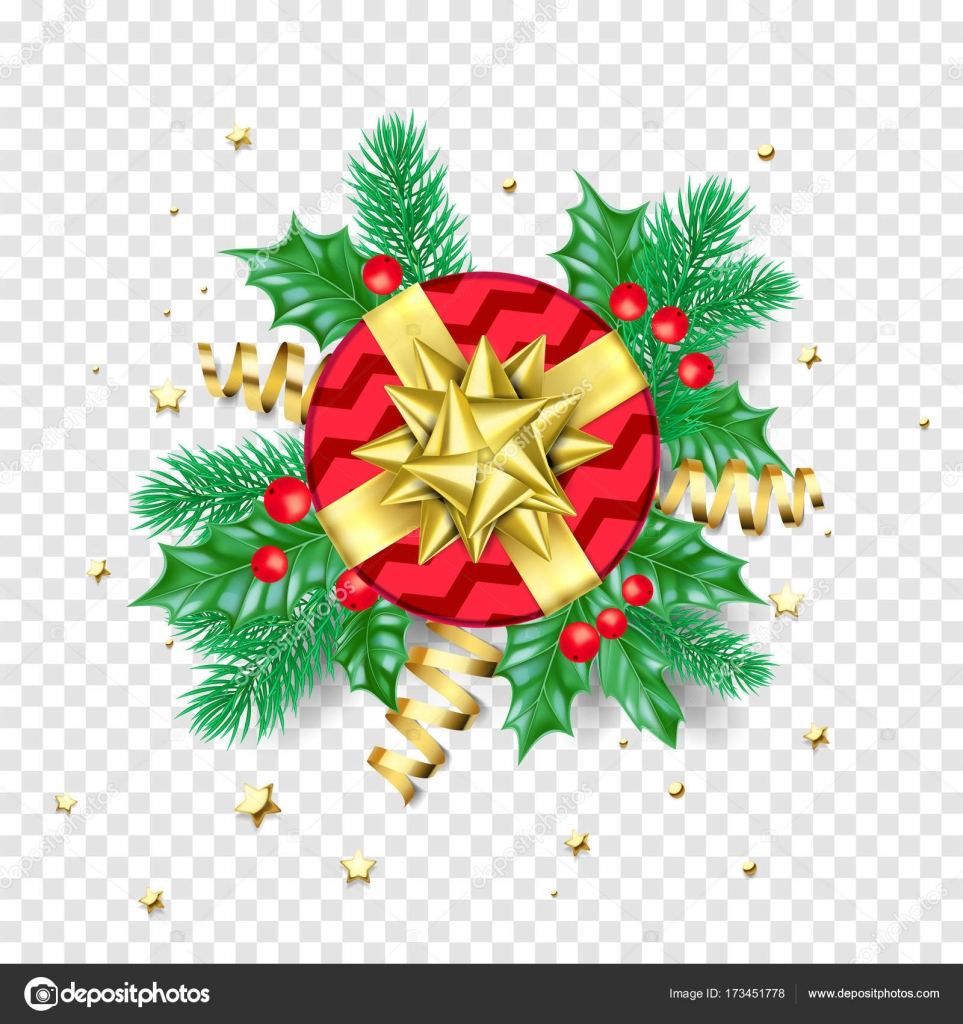 christmas new year greeting card background template golden stars confetti gift presents decorations stock vector