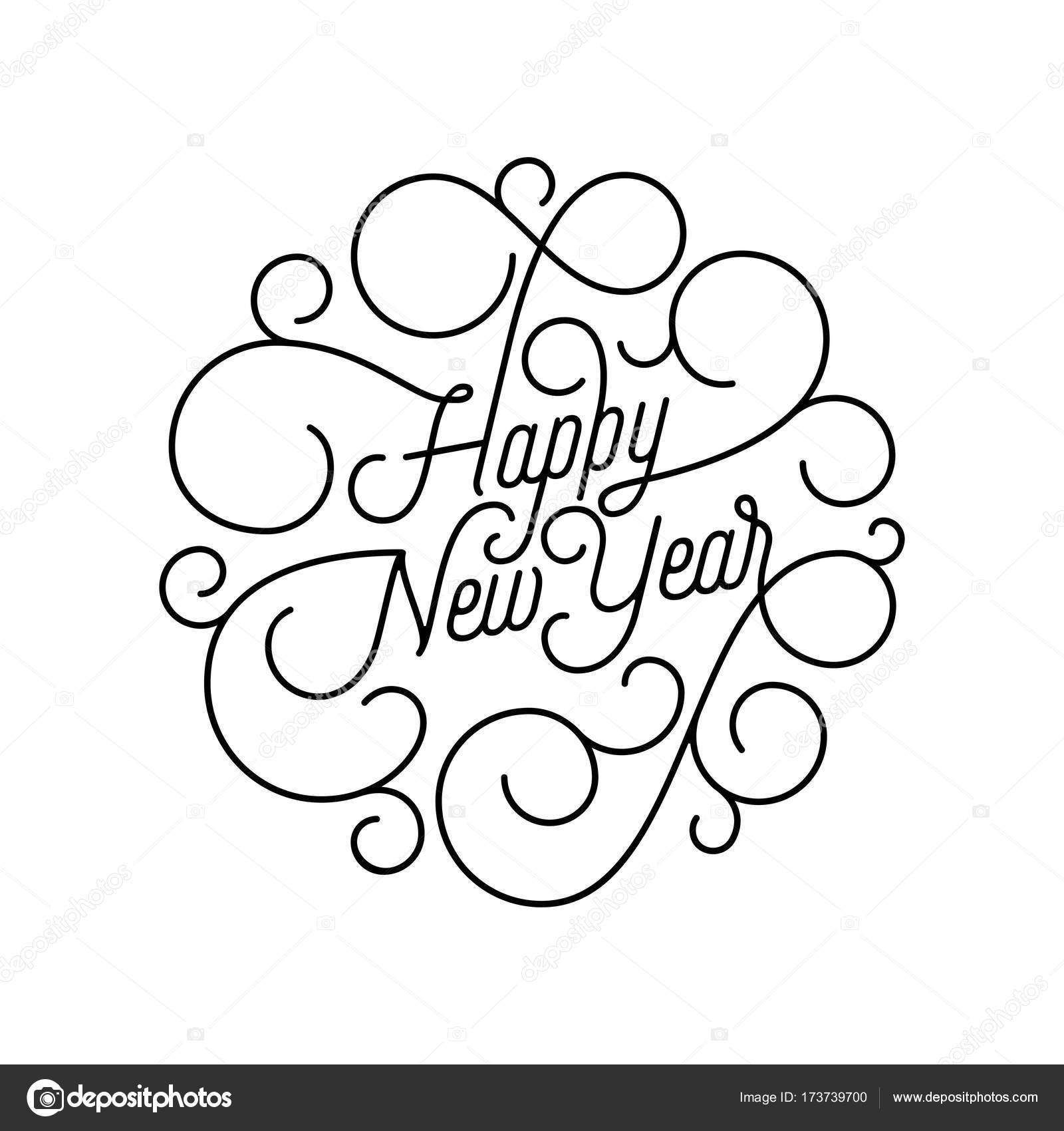 Happy New Year flourish calligraphy lettering of swash line ...
