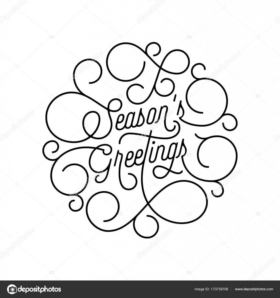Season Greetings Flourish Calligraphy Lettering Of Swash Line