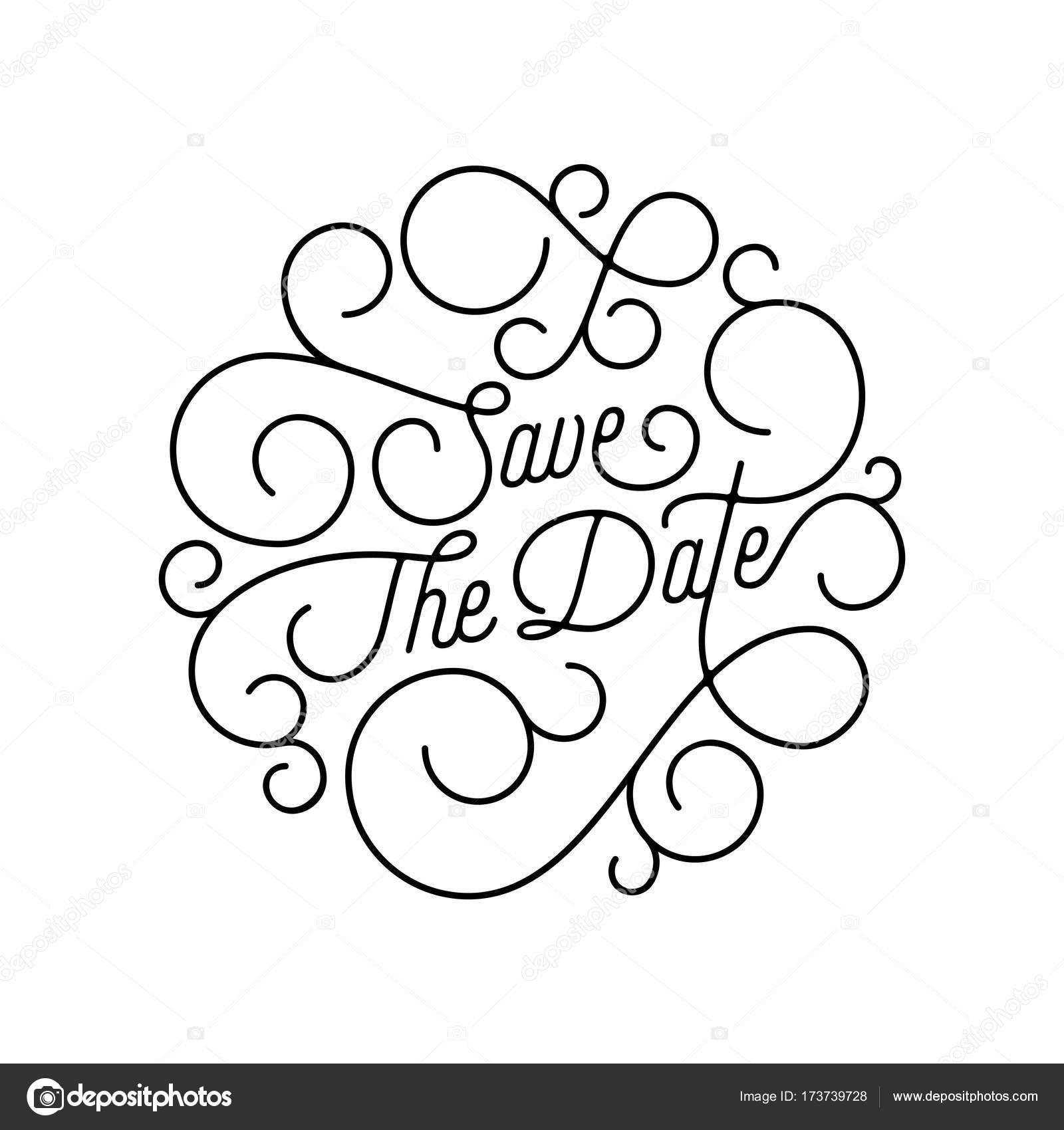 Zapisz Datę Rozkwitać Kaligrafia Napis Pluskać Linii Typografii Na