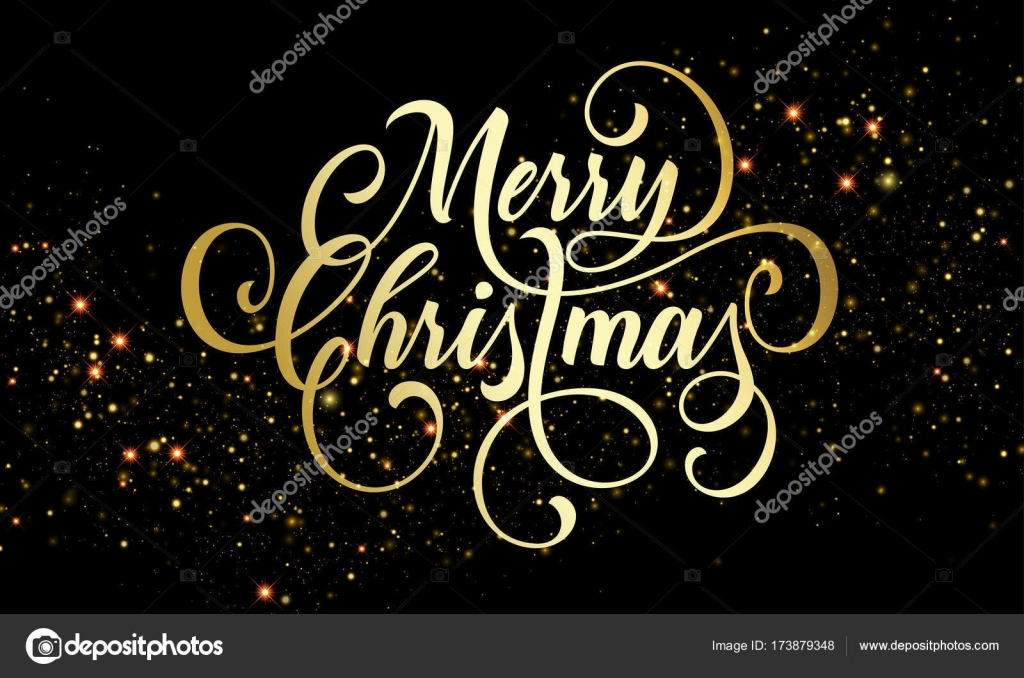 Merry Christmas Wishes Text.Merry Christmas Greeting Card Of Golden Festive Glitter