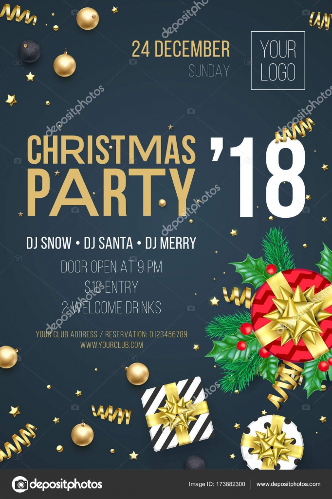 christmas party 2018 invitation poster template of golden new year decoration christmas tree gold glitter star confetti on premium black background