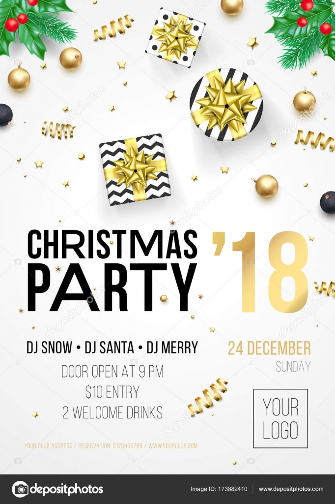 christmas party invitation poster or december winter holiday celebration party welcome banner template vector golden christmas tree and new year