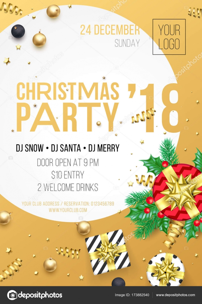 christmas 2018 party invitation poster design template for december night celebration vector present gift and