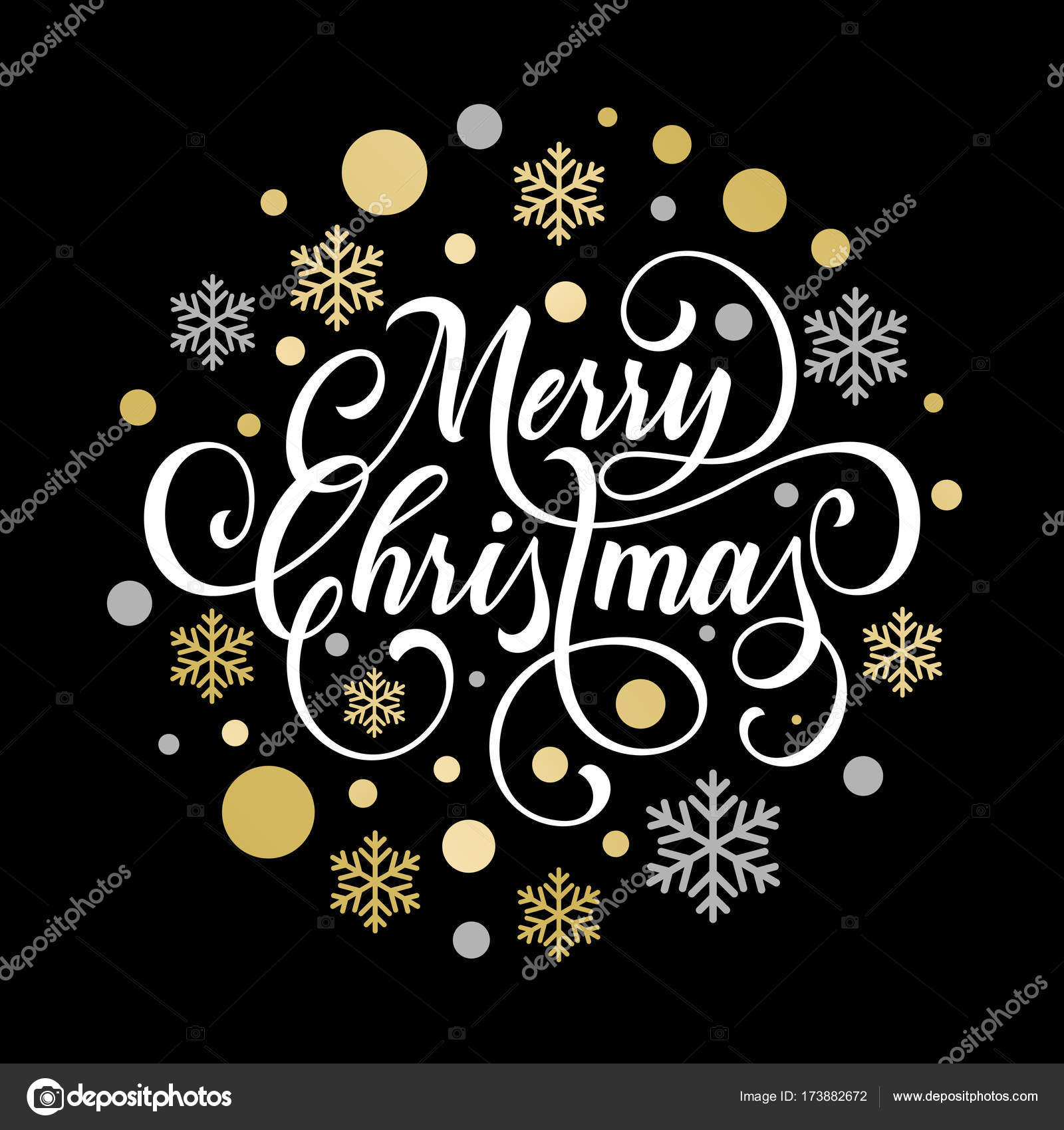 merry christmas greeting card of golden snowflake and gold glittering star pattern on premium black background vector christmas or new year