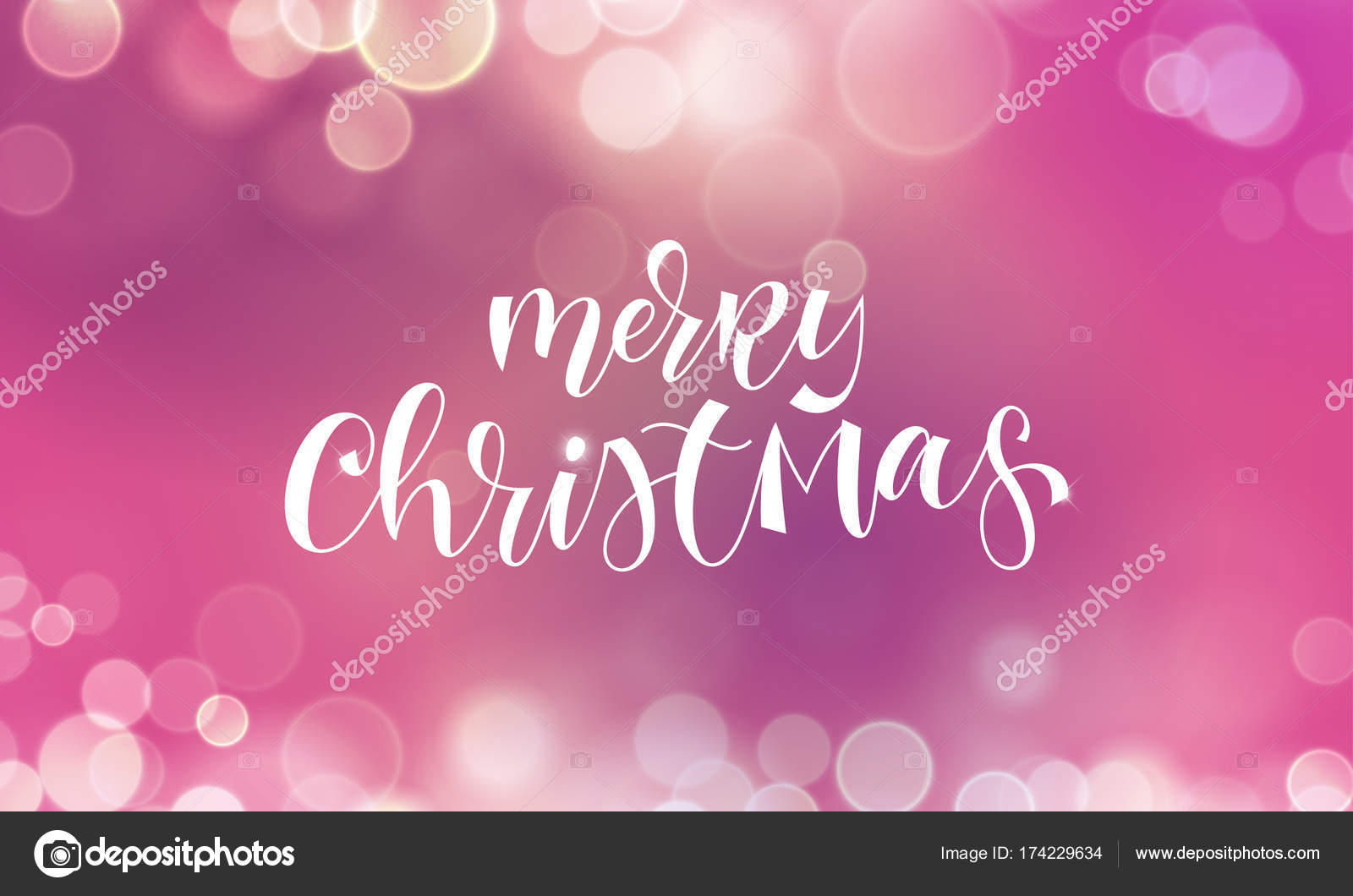 Merry Christmas Greeting Card And Calligraphy Lettering On Festive
