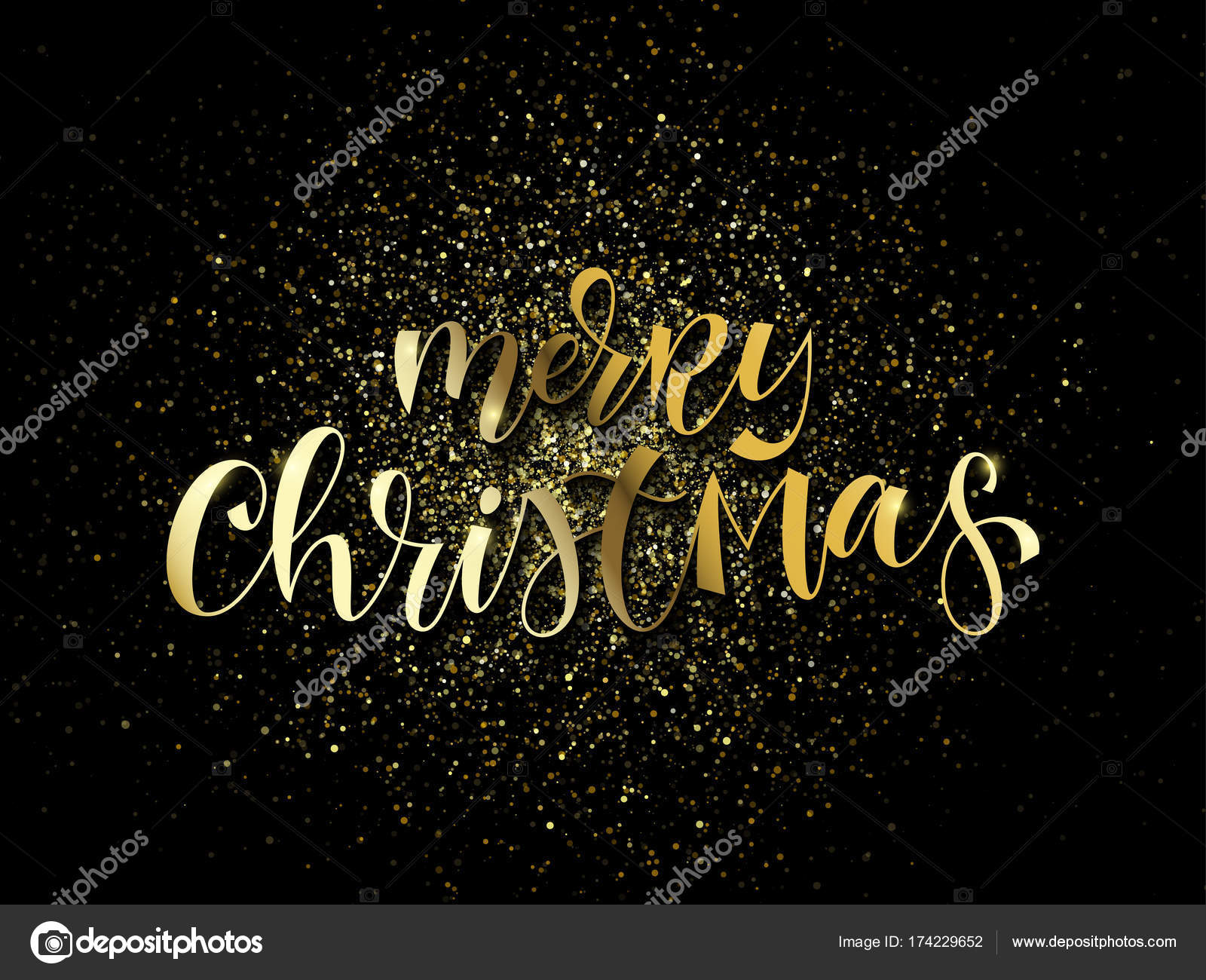 merry christmas greeting card of gold glitter confetti or sparkling