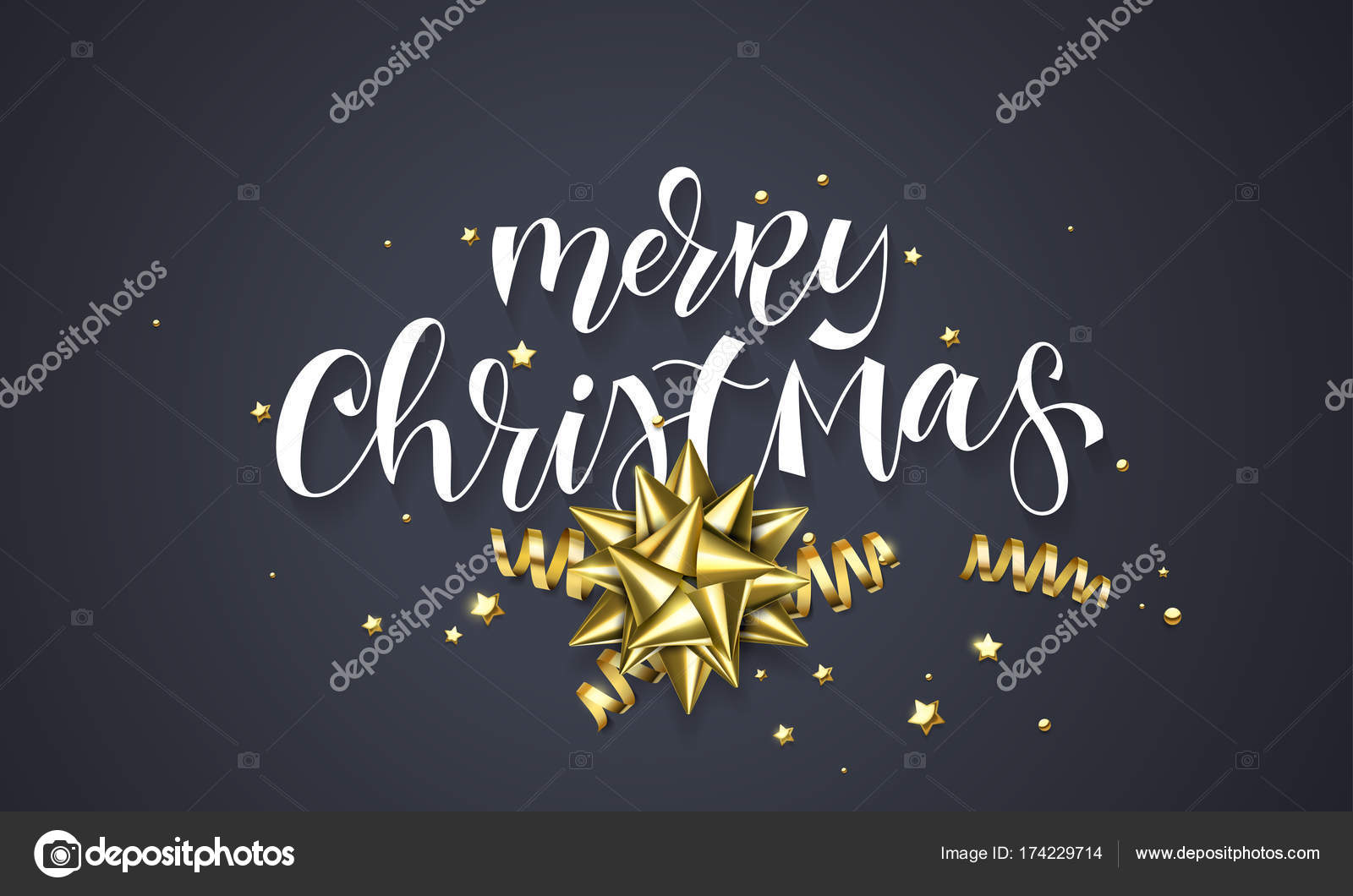 merry christmas greeting card background design template of golden