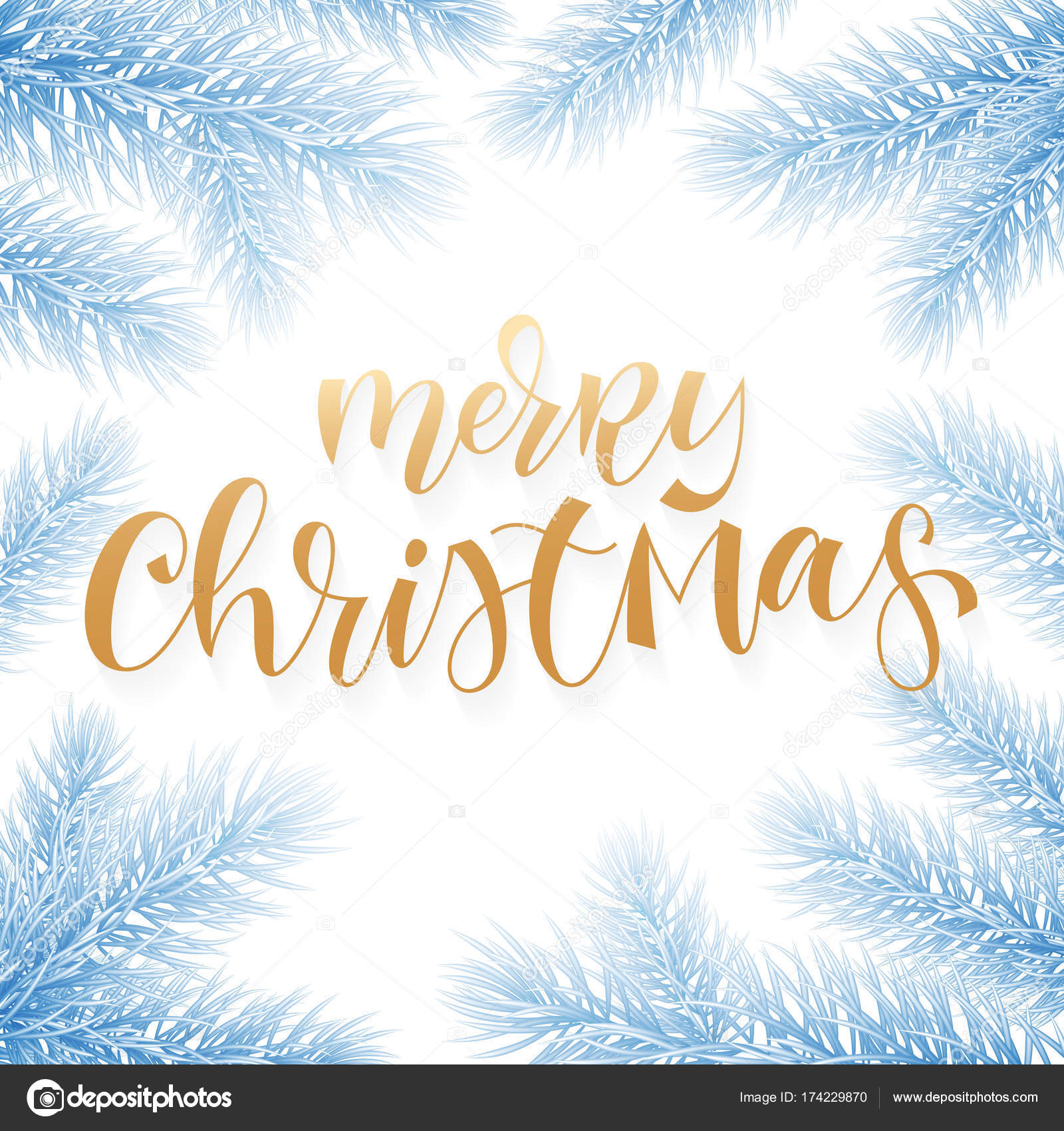 Christmas holiday greeting card background template of golden text merry christmas holiday greeting card background template of golden text hand drawn calligraphy in christmas tree snow kristyandbryce Gallery