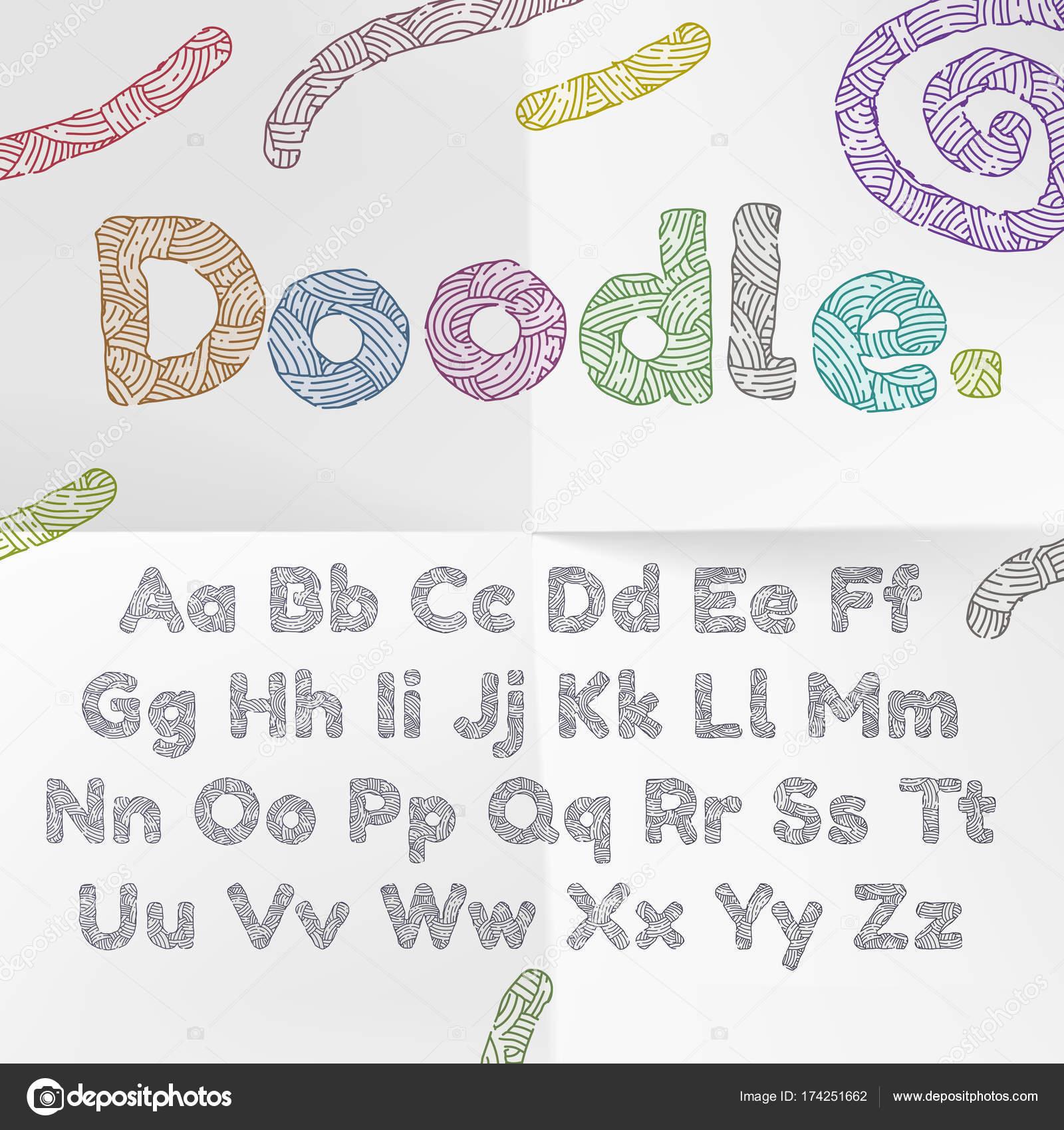 Doodle el alfabeto de la fuente de texto con textura de punto de ...