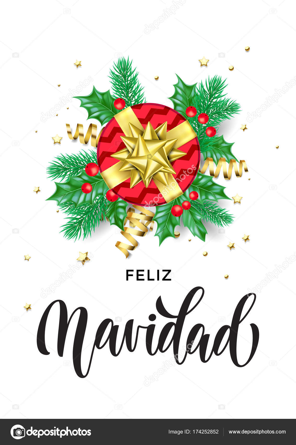 Christmas Spanish.Merry Christmas Spanish Feliz Navidad Holiday Hand Drawn