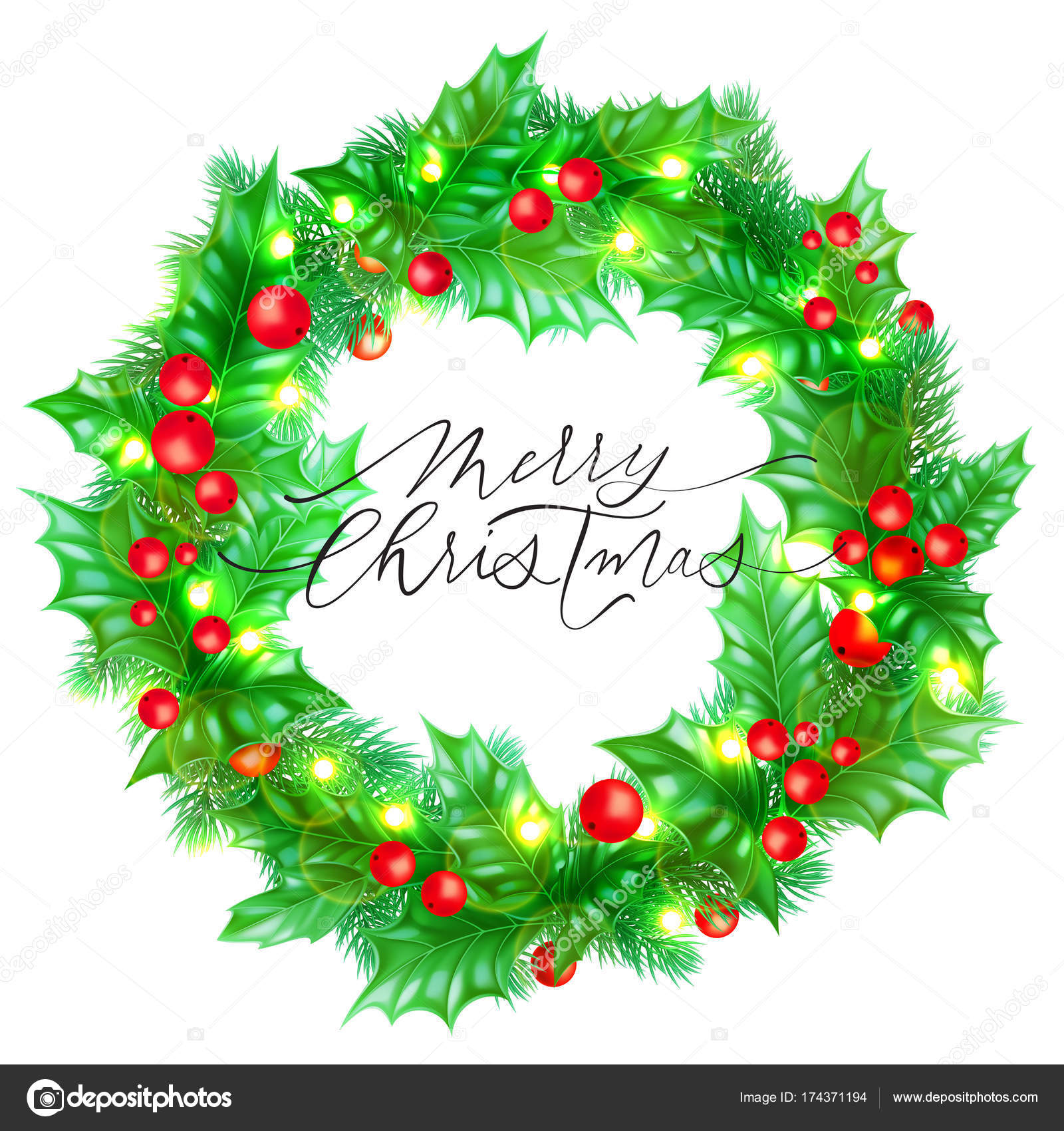 Merry Christmas Holiday Hand Drawn Calligraphy Text For Greeting