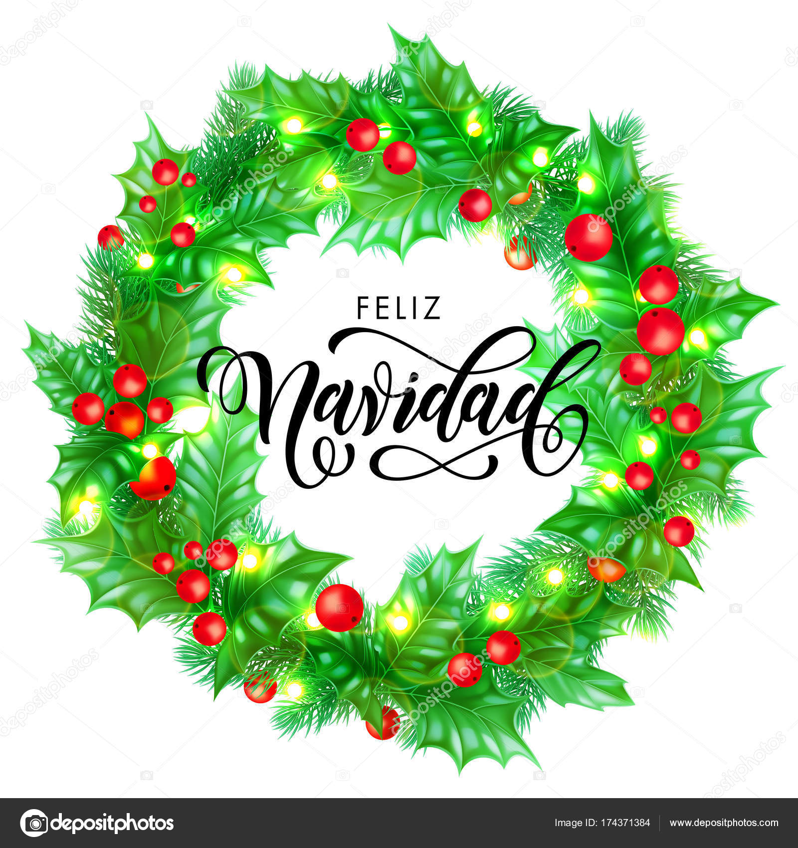 feliz navidad spanish merry christmas holiday hand drawn calligraphy text for greeting card of wreath decoration