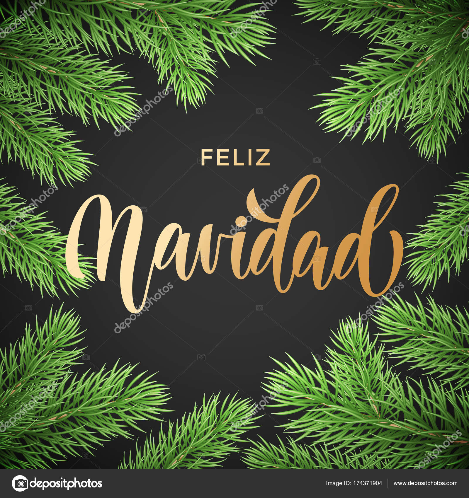 Feliz Navidad Spanish Merry Christmas Hand Drawn Golden Calligraphy