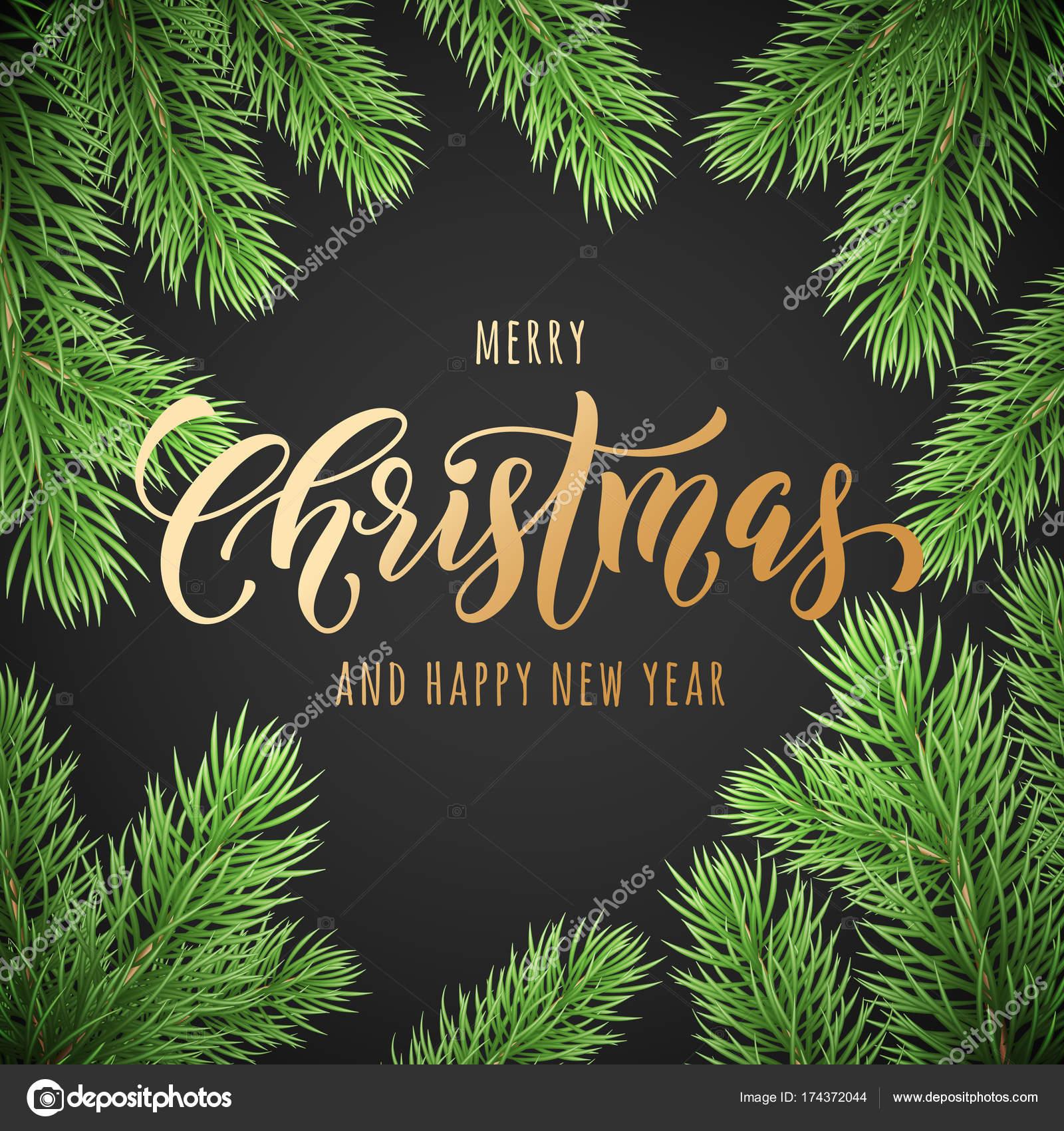 Feliz Navidad y feliz año nuevo dorado a mano fuente de caligrafía ...