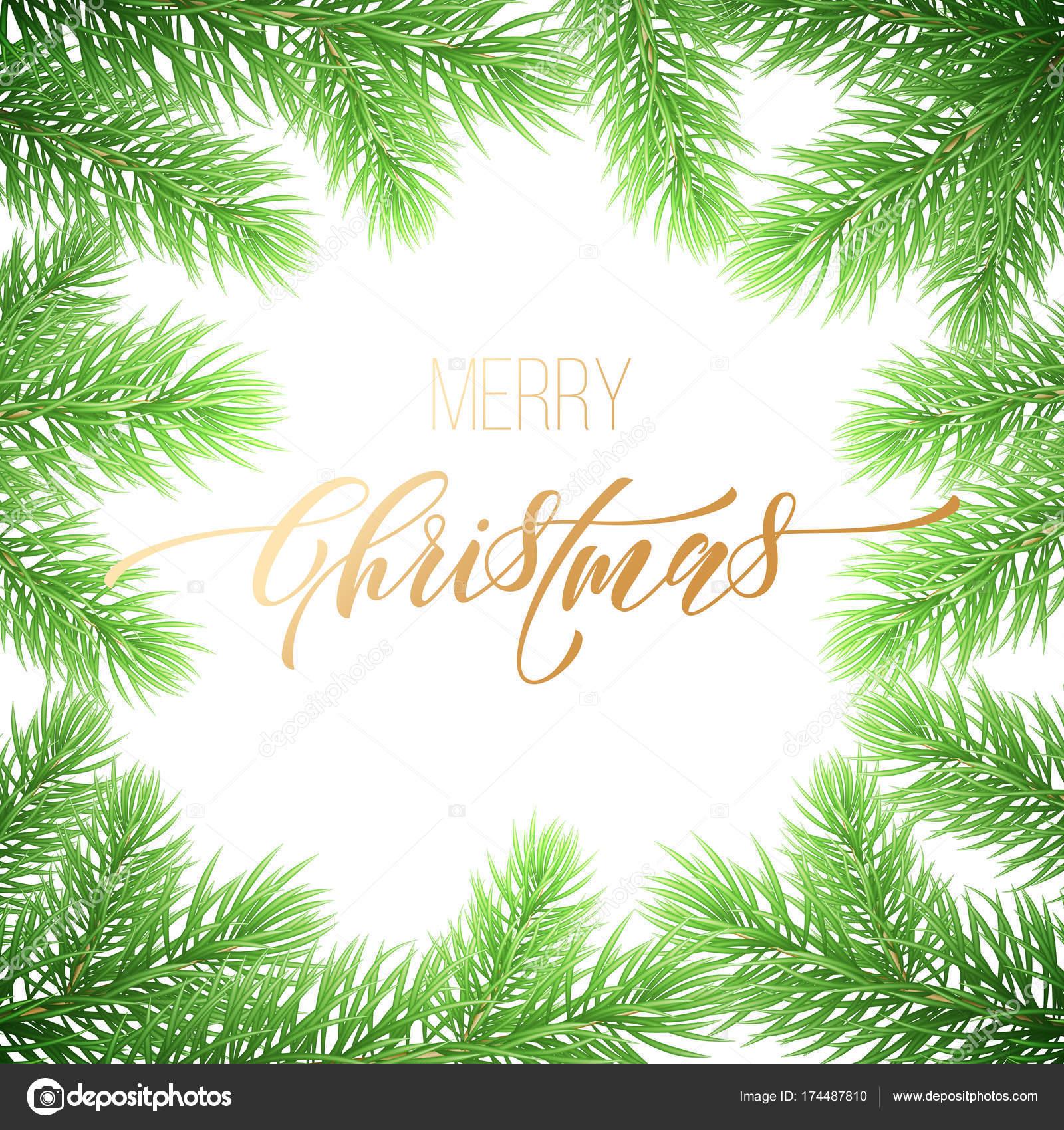 Merry christmas holiday golden hand drawn quote calligraphy greeting merry christmas holiday golden hand drawn quote calligraphy greeting card background template vector christmas fir tree branch garland wreath decoration maxwellsz