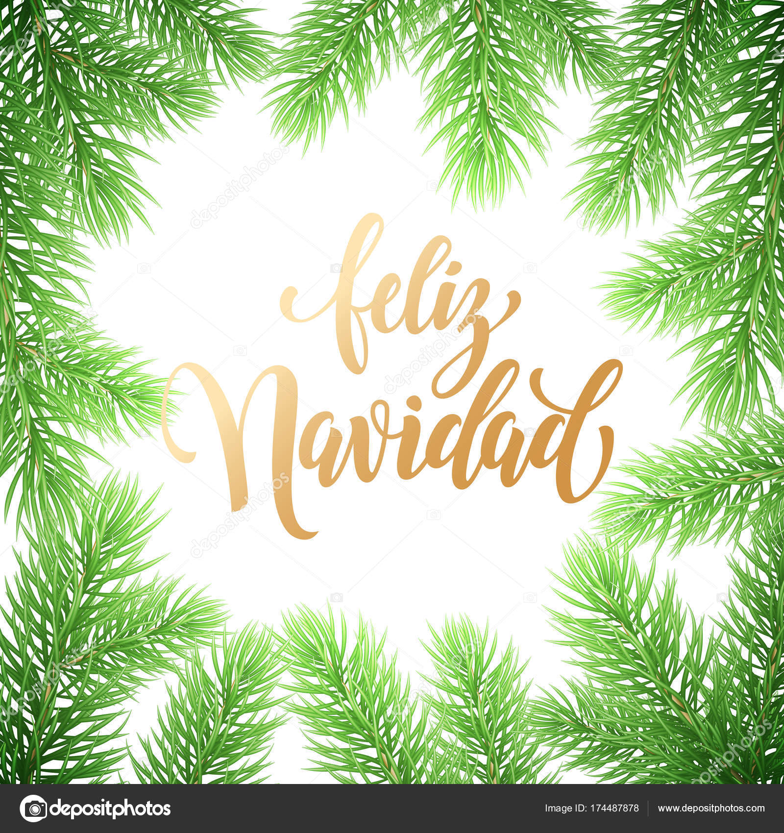 Feliz navidad spanish merry christmas hand drawn golden feliz navidad spanish merry christmas hand drawn golden calligraphy in fir branch wreath decoration and christmas kristyandbryce Images